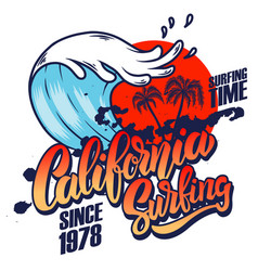california surfing emblem template with waves and vector image