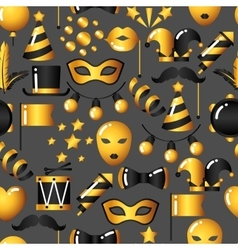 Carnival seamless pattern with gold icons and vector