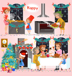 Cartoon set of big family preparing and cooking vector
