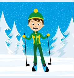 Cheerful skier in the forest vector