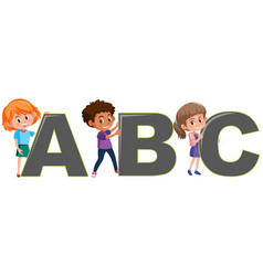 children with english letters vector image