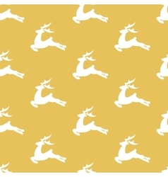 Christmas golden pattern with white deers vector image