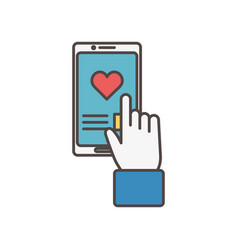 click smarphone love chat social media icon vector image