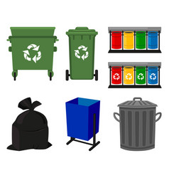 Colorful cartoon trash element collection vector