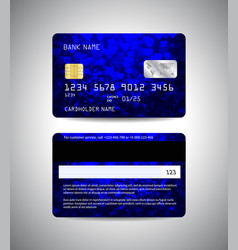 credit cards set with colorful blue background vector image vector image