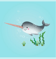cute cartoon narwhal swimming vector image