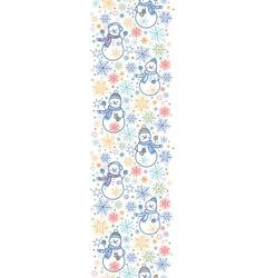 Cute snowmen vertical seamless pattern background vector image vector image