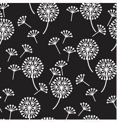 decorative dandelion flowers seamless pattern vector image