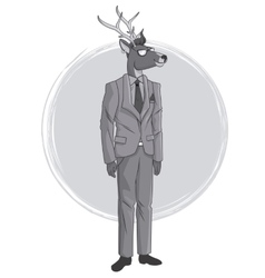 Deer fashion animal hipster white and grey design vector