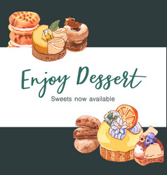 Dessert frame design with cookie donut cupcake vector
