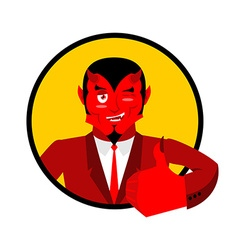 Devil shows well Sign all right Thumbs up Hand vector image