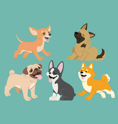 Dog flat cartoon set vector