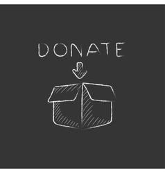 Donation box Drawn in chalk icon vector