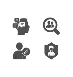 Edit user messages and search employees icons vector