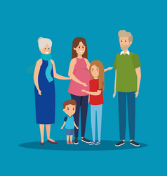 Family together with grandparents and kids vector