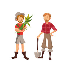 Farmers harvesting crop cartoon vector