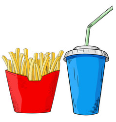 fast food set french fries and drink in paper cup vector image