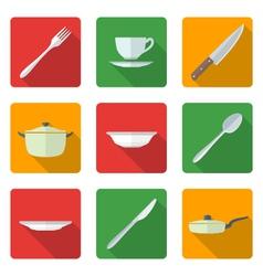 Flat dinnerwarwe icons set vector