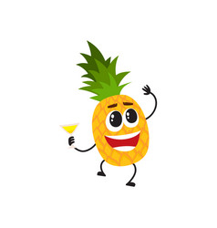 Funny pineapple character having fun at party vector