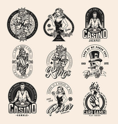 Gambling vintage badges collection vector