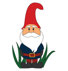 garden gnome on white background vector image