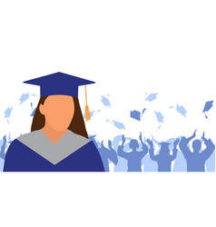 Girl graduate in mantle and academic square cap vector