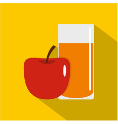 glass of juice with red apple icon flat style vector image