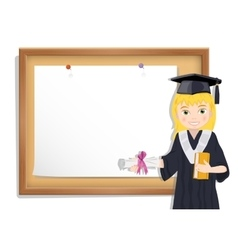 Graduate girl and cork board with paper vector