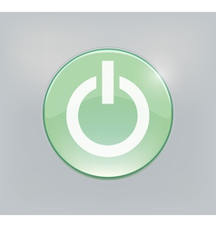Green glowing power on or off button vector image