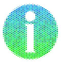 Halftone blue-green info icon vector
