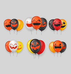 halloween party ballon groups with pumpkin faces vector image