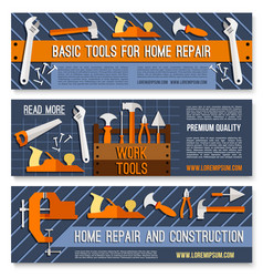 Hand tool banner set for hardware store design vector