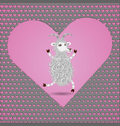 happy in love funny white cartoon fluffy goat vector image