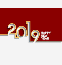 Happy new year 2019 with golden outline number vector