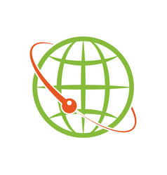 isolated design logo the green globe around vector image