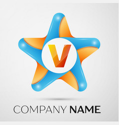 Letter v logo symbol in the colorful star on grey vector