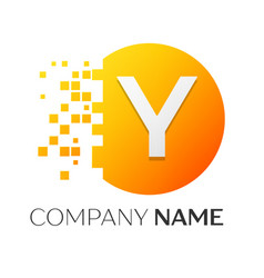 Letter y logo symbol in the colorful circle vector