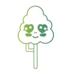 line kawaii cute in love natural tree vector image