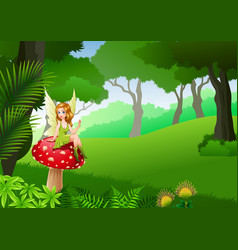 little fairy siting on mushroom forest background vector image