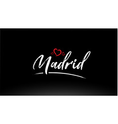 Madrid city hand written text with red heart logo vector