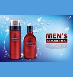 men cosmetics shower gel shampoo shaving foam vector image