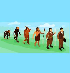 Men evolution isometric vector