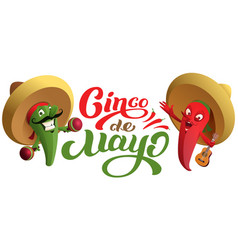 mexican cactus and red chili pepper in sombrero vector image