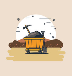 Mining zone and tools vector