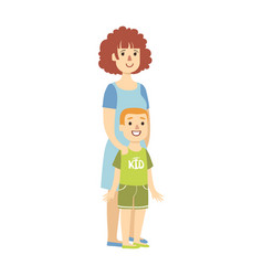 mother with small son from happy vector image