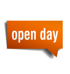 open day orange 3d speech bubble vector image