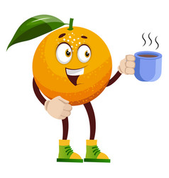 Orange with coffee on white background vector