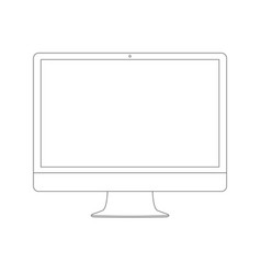 outline drawing pc monitor elegant thin line vector image