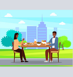 People on a date against backdrop city vector