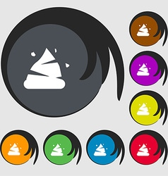 Poo icon sign Symbols on eight colored buttons vector image